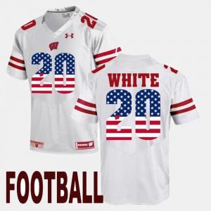 White NCAA US Flag Fashion Badgers James White Jersey #20 Men's 921102-702