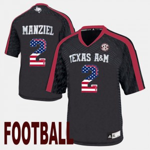 Aggie Johnny Manziel Jersey Stitched Men's US Flag Fashion #2 Black 260073-434