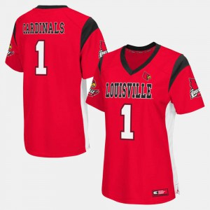 College Football For Women Player Red #1 University Of Louisville Jersey 251732-141