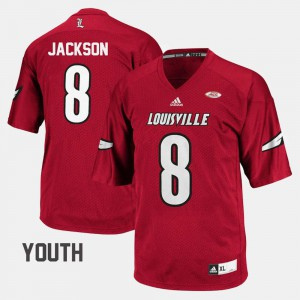 Red Youth(Kids) #8 Cardinal Lamar Jackson Jersey Stitch College Football 767973-729