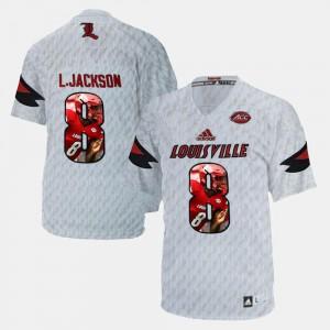 Mens #8 Player Pictorial White Stitch Louisville Cardinals Lamar Johnson Jersey 236695-128