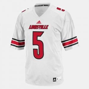 Men #5 White Louisville Teddy Bridgewater Jersey College Football Stitched 465596-990