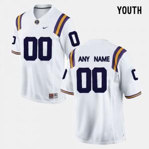 #00 College Limited Football University Louisiana State Tigers Custom Jerseys Youth White 692394-397