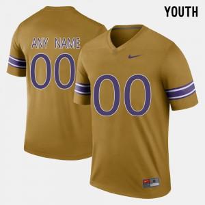 Throwback Tigers Custom Jersey Kids Stitch #00 Gridiron Gold 458105-554