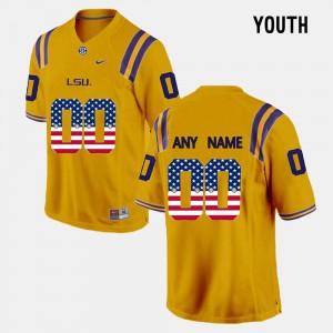 Gold University LSU Customized Jerseys #00 For Kids US Flag Fashion 249000-201