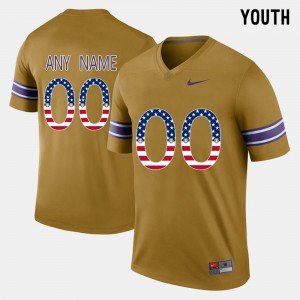 Gridiron Gold LSU Customized Jerseys For Kids Embroidery #00 US Flag Fashion 332530-475
