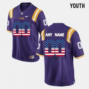 Purple LSU Customized Jerseys Youth(Kids) Player #00 US Flag Fashion 478713-518