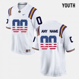 US Flag Fashion #00 LSU Custom Jersey White Youth College 334006-485