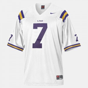 For Men's College Football White #7 High School LSU Tigers Patrick Peterson Jersey 274857-334