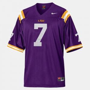 Purple Kids #7 College Football LSU Tyrann Mathieu Jersey Stitch 870498-419