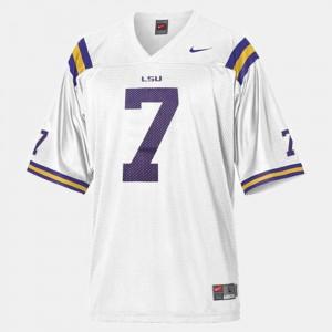 #7 College Football Kids High School White LSU Tyrann Mathieu Jersey 589174-221