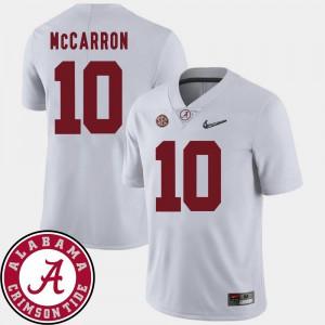 Alabama Roll Tide AJ McCarron Jersey 2018 SEC Patch White College Football Mens #10 NCAA 537175-973