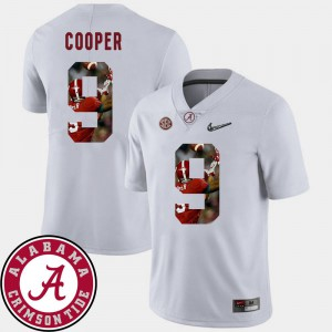#9 Football NCAA White Alabama Amari Cooper Jersey For Men Pictorial Fashion 708325-561
