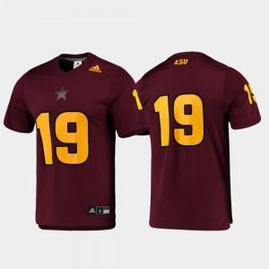 Embroidery Football #19 Men's Replica Maroon ASU Jersey 434562-870