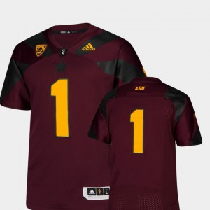 Sun Devils Jersey Maroon For Men's Premier Embroidery #1 College Football 767527-836