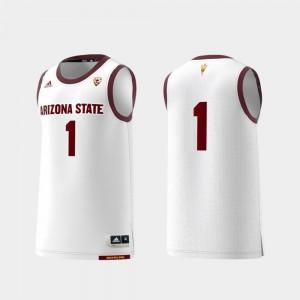 Men's Basketball Swingman #1 Embroidery College Replica ASU Jersey White 271948-151