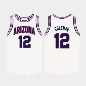 White For Men's College Basketball #12 Embroidery U of A Justin Coleman Jersey 145575-740