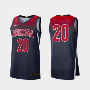 Arizona Jersey College Basketball Player Navy #20 For Men's Limited 117027-633