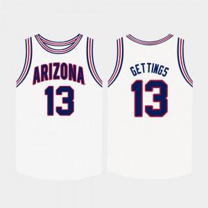 University of Arizona Stone Gettings Jersey For Men White #13 College Basketball NCAA 151762-697