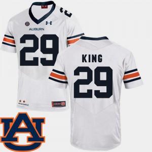 SEC Patch Replica Embroidery Men's #29 College Football White Auburn Brandon King Jersey 168341-829