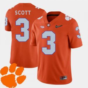 Orange Clemson Artavis Scott Jersey Embroidery College Football 2018 ACC #3 Men 372957-546