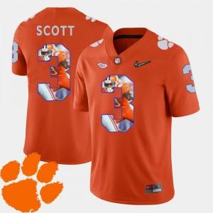 Clemson Tigers Artavis Scott Jersey Pictorial Fashion Orange For Men's Football University #3 255703-285