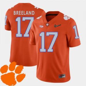 Clemson University Bashaud Breeland Jersey #17 NCAA Orange 2018 ACC Men's College Football 289788-583