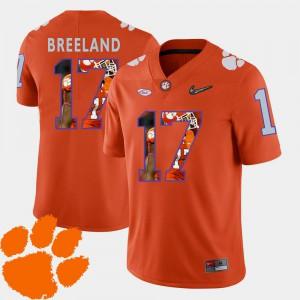Football Pictorial Fashion Men's Clemson Bashaud Breeland Jersey #17 Orange Embroidery 407523-991