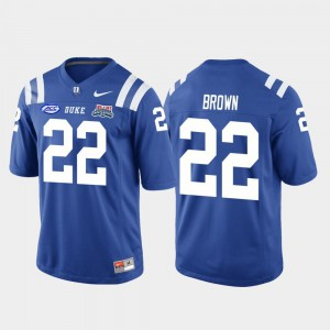 Men 2018 Independence Bowl Stitched Royal Duke University Brittain Brown Jersey #22 College Football Game 977386-566