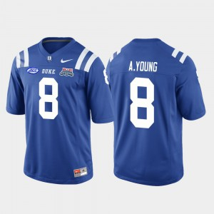 Men University College Football Game 2018 Independence Bowl Royal #8 Blue Devils Aaron Young Jersey 344182-442