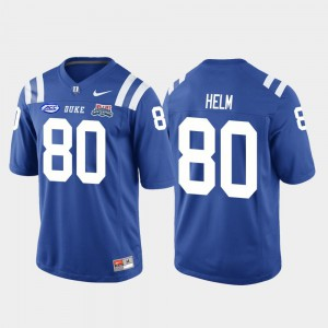 2018 Independence Bowl College College Football Game #80 For Men's Duke University Daniel Helm Jersey Royal 621186-362