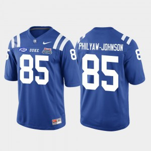 Royal Stitched Mens 2018 Independence Bowl College Football Game Blue Devils Damond Philyaw-Johnson Jersey #85 291580-784