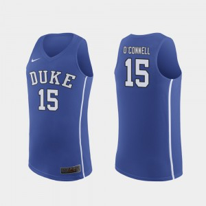 Authentic #15 College Royal Men March Madness College Basketball Duke Blue Devils Alex O'Connell Jersey 597583-775