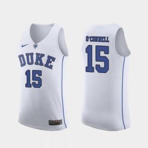 Men's #15 Authentic March Madness College Basketball Duke Alex O'Connell Jersey College White 282118-587