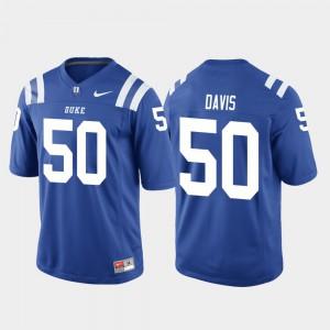 University Game #50 Duke University Austin Davis Jersey For Men's Royal College Football 846835-989