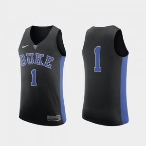 Black College Authentic Mens College Basketball #1 Duke Jersey 462275-710
