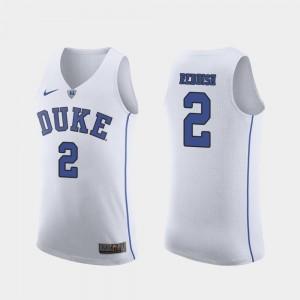 #2 Authentic Duke Blue Devils Cam Reddish Jersey For Men's March Madness College Basketball White Stitch 378197-950