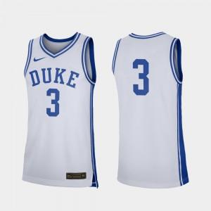 Duke University Jersey #3 High School White College Basketball For Men Replica 396393-741