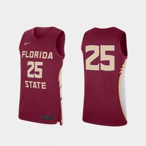 Seminoles Jersey Men's Garnet College Basketball #25 Stitched Replica 390418-755