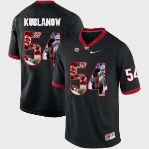Black #54 Player Pictorial Fashion UGA Bulldogs Brandon Kublanow Jersey Mens 521584-115