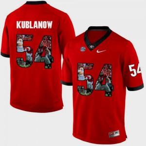 University of Georgia Brandon Kublanow Jersey #54 Red Men's Pictorial Fashion Stitch 172295-639