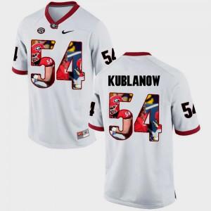 For Men's Player White Pictorial Fashion UGA Brandon Kublanow Jersey #54 438012-289