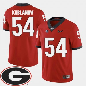 #54 Red College Football Player University of Georgia Brandon Kublanow Jersey For Men 2018 SEC Patch 968056-304