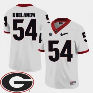 College 2018 SEC Patch White University of Georgia Brandon Kublanow Jersey #54 College Football For Men's 893293-975