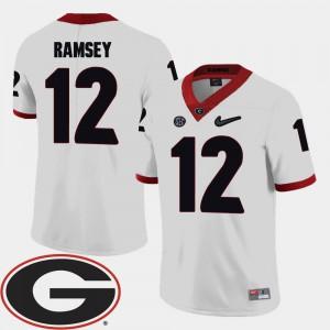 College Football Men's 2018 SEC Patch UGA Brice Ramsey Jersey White #12 Stitch 890323-529