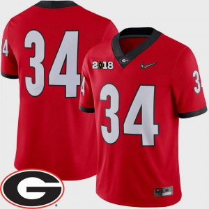 Red Official College Football #34 Men's 2018 National Championship Playoff Game GA Bulldogs Jersey 523329-325