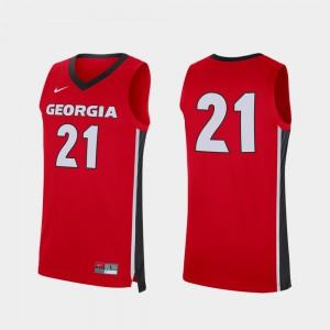 GA Bulldogs Jersey College Mens #21 Replica College Basketball Red 828880-504