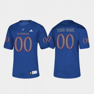 For Men's Jayhawks Customized Jersey Royal College #00 College Football 515588-470