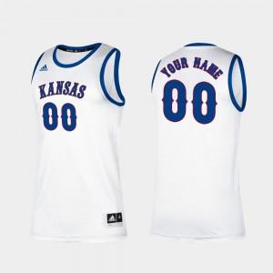 White Jayhawks Custom Jerseys Classic #00 Men's Player College Basketball 389888-148