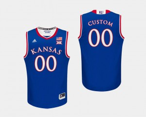 Jayhawks Custom Jersey Royal Men's Stitch #00 College Basketball 700444-820